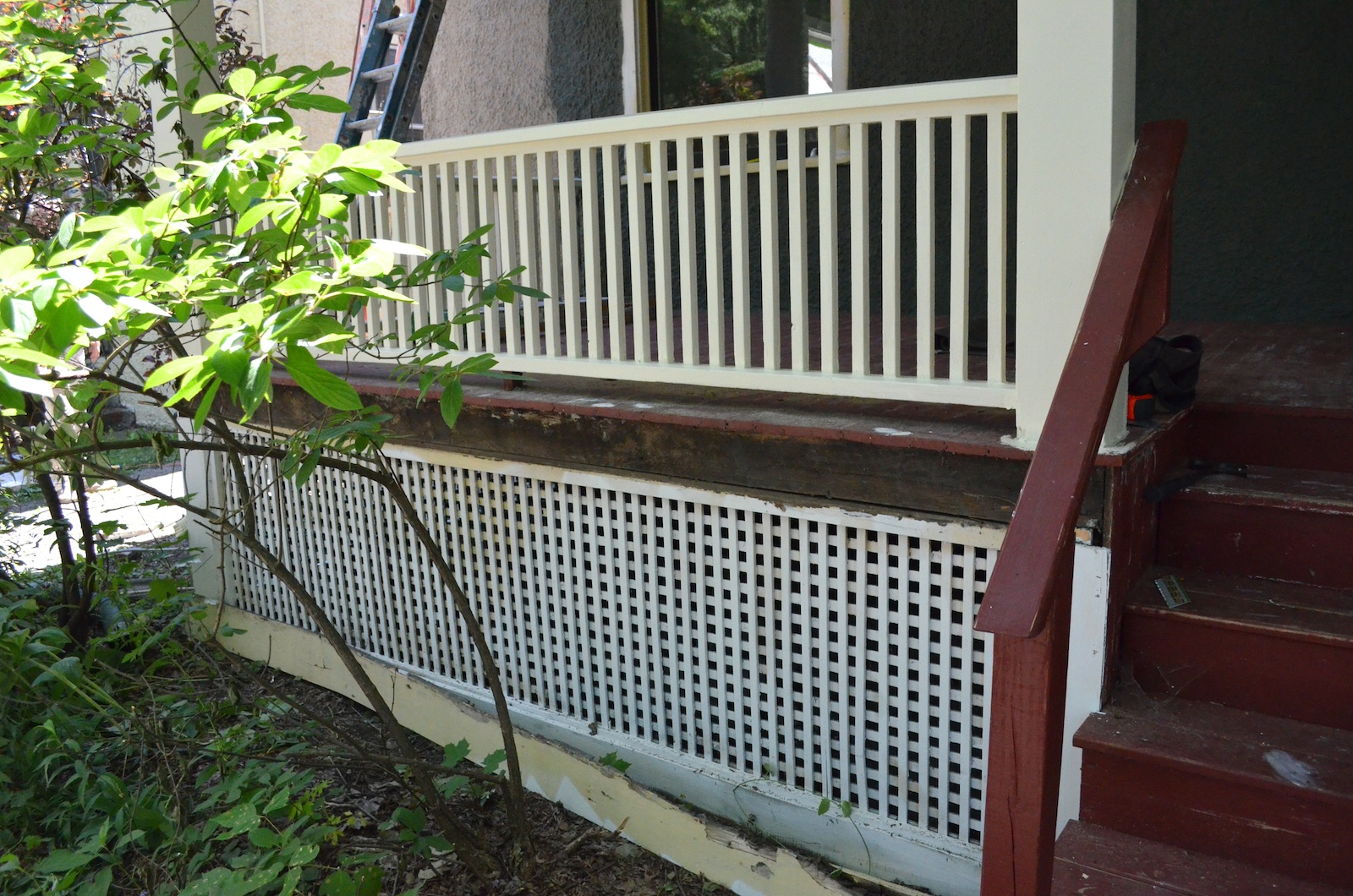 Rotted porch trim board removed